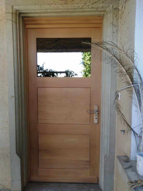 Porte d'entrée en chêne, 3 panneaux isolants, haut vitré